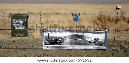 James Dean Memorial on fence where he died. - stock photo