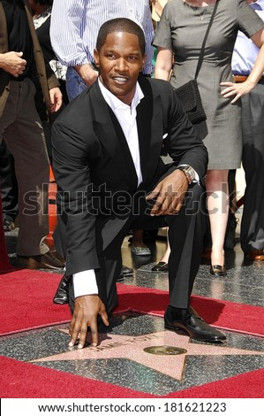 Jamie Foxx at the induction ceremony for STAR ON THE HOLLYWOOD WALK OF FAME for Jamie Foxx, The Kodak Theatre, Los Angeles, CA, September 14, 2007 - stock photo