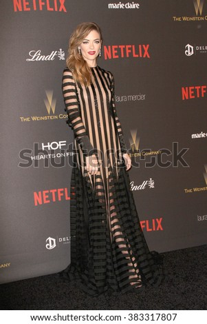 Jamie King arrives at the Weinstein Company and Netflix 2016 Golden Globes After Party on Sunday, January 10, 2016 at the Beverly Hilton Hotel in Beverly Hills, CA.  - stock photo