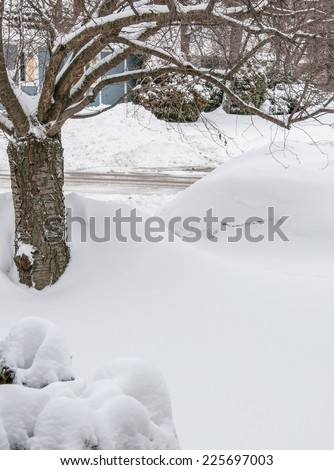 Jan/Feb snow storm hits midwest cities - stock photo