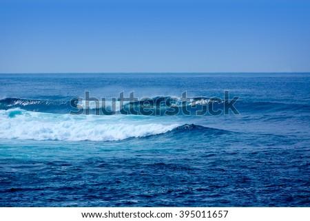 Jandia surf beach waves Fuerteventura at Canary Islands of Spain - stock photo