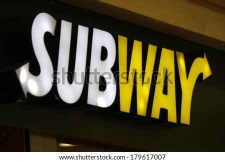 "JANUARY 28, 2014 - BERLIN: the logo of the brand ""Subway"", Berlin. - stock photo"
