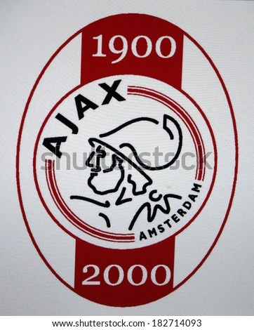 "JANUARY 27, 2014 - BERLIN: the logo of the football club ""Ajax Amsterdam"". - stock photo"