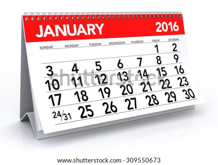 January 2016 Calendar. Isolated on White Background. 3D Rendering - stock photo