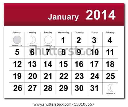 January 2014 calendar. Vector version available in my portfolio. - stock photo