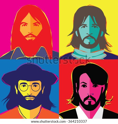JANUARY 18, 2016: Illustrative editorial pop art style drawing of The Beatles in their hippie stage. George Harrison, Ringo Starr, John Lennon and Paul McCartney. - stock photo