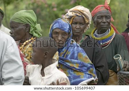 JANUARY 2007 - Kenyan women stand in line to get health checkup for HIV/AIDS at the Pepo La Tumaini Jangwani, HIV/AIDS Community Rehabilitation Program, Orphanage & Clinic.  Nairobi, Kenya, Africa - stock photo