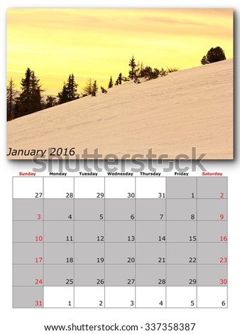 january nature calendar page layout for print - stock photo