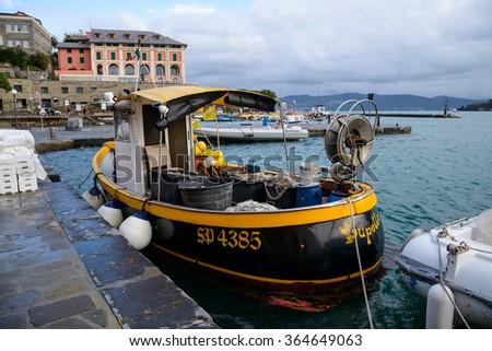 January 18, 2016 - Portovenere, Italy - The waterfront of Portovenere near La Spezia and Cinque Terre in Northwestern Italy - stock photo