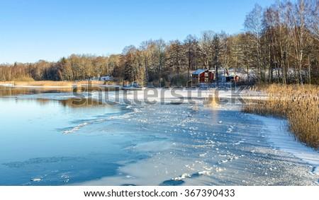 January Swedish contrasts - stock photo