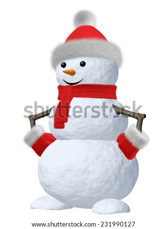 January winter holiday decoration concept; cute snowman made of snow in red hat and red scarf with red mittens and carrot as nose isolated on white background, 3d illustration. - stock photo