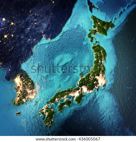 Japan and Korea. Elements of this image furnished by NASA. 3D rendering - stock photo
