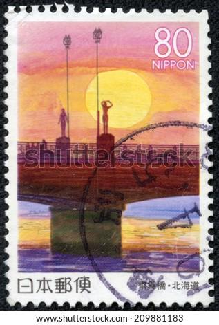 JAPAN - CIRCA 2000: A stamp printed in japan shows Nusamai Bridge, circa 2000 - stock photo
