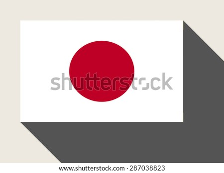 Japan flag in flat web design style. - stock photo