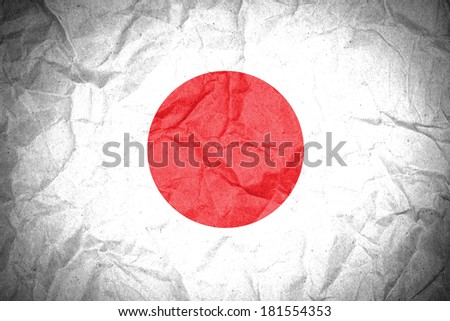 Japan flag painted on crumpled paper  - stock photo