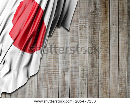 Japan Flag with vertical wood - stock photo