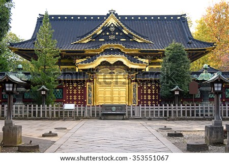 Japan, Japanese gold pattern door at Buddhist temple Ueno Toshogu Shrine in Tokyo - stock photo