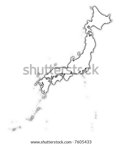 Japan outline map with shadow. Detailed, Mercator projection. - stock photo