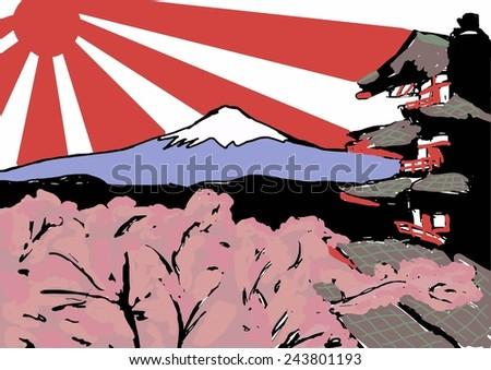 Japan sketch - stock photo