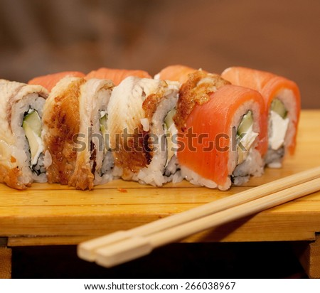 japan traditional food - roll  - stock photo
