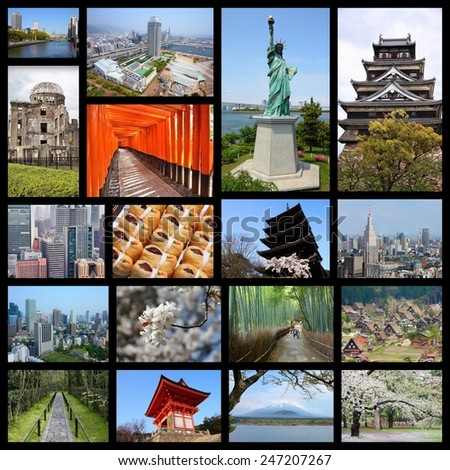 Japan travel photo collage. It includes major landmarks like Tokyo, Kyoto, Osaka, Hiroshima, Kobe and Hirosaki. - stock photo