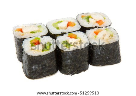 japan trditional food - roll isolated - stock photo