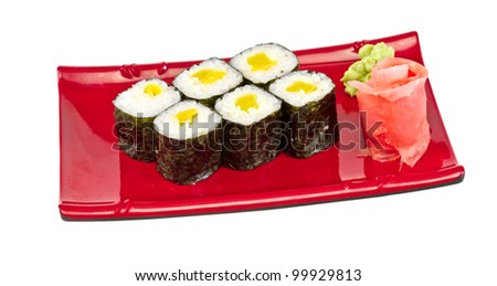 japan vegetarian roll with dycon - stock photo