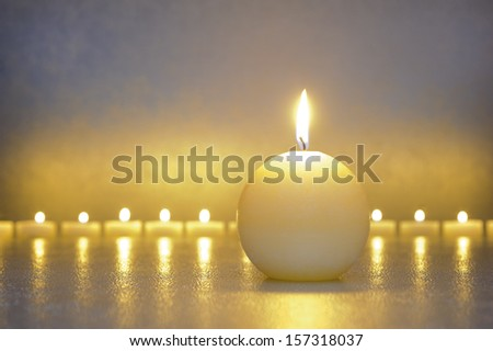 Japan ZEN garden with line of candle lights - stock photo