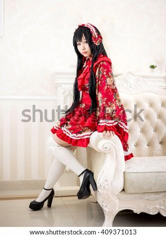 japanese anime style lolita maid cosplay cute girl - stock photo