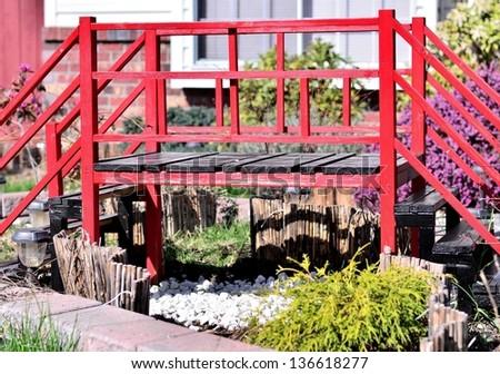 Japanese bridge portrait - stock photo