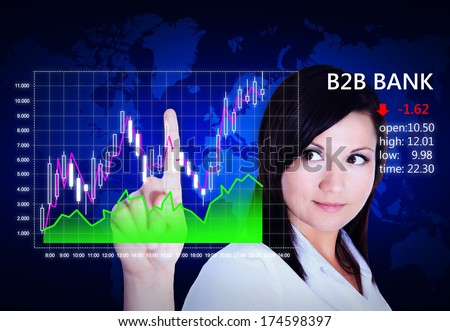 japanese candlestick analyzed by young woman over dark  background - stock photo