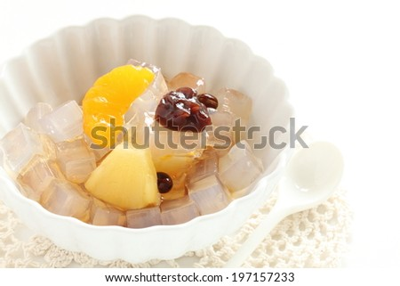 Japanese confectionery, Anmitsu agar jelly with fruit - stock photo