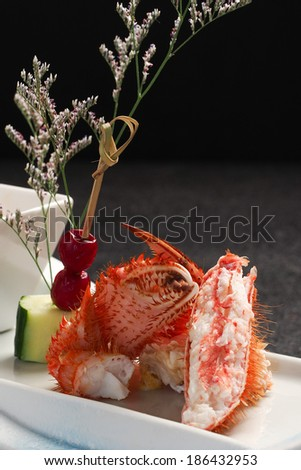 japanese crab with sauce - stock photo