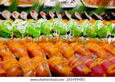 Japanese Cuisine -Buffet catering style Sushi Set in restaurant ...