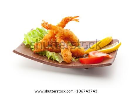 Japanese Cuisine - Ebi Tempura (Deep Fried Shrimps) with Vegetables - stock photo