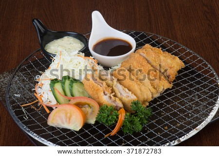 japanese cuisine. fried chicken on the background - stock photo