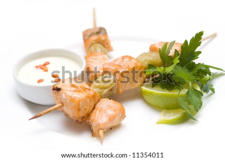 Japanese cuisine: grilled fish - stock photo