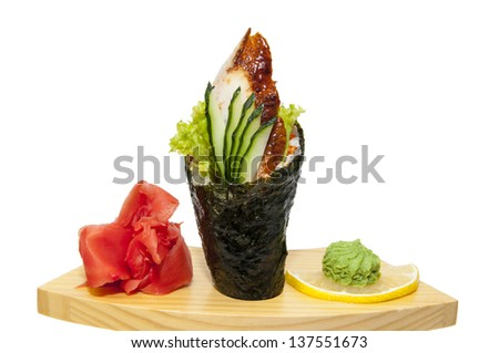 Japanese cuisine in the restaurant temaki with meat fish eel - stock photo