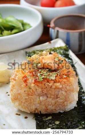 Japanese cuisine, Onigiri - rice ball  - stock photo