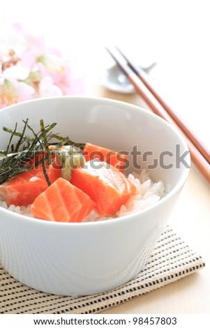 Japanese cuisine, salomon and wasabi sushi rice don - stock photo