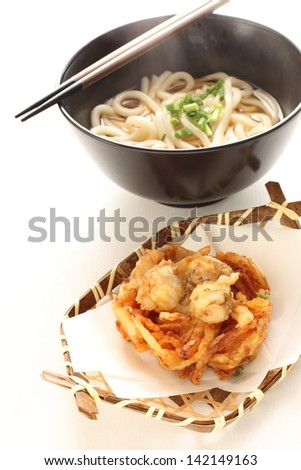 Japanese cuisine, scallop Kakiage Tempura and  soup udon - stock photo