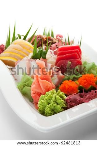 Japanese Cuisine - Seafoods Plate (salmon, tuna, scallop, eel) - stock photo