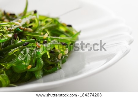 Japanese cuisine , seaweed salad in white plate. Healthy organic sea food.  - stock photo