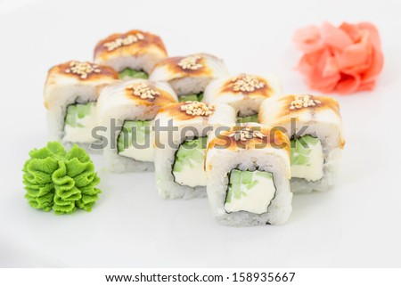 Japanese cuisine - sushi and rolls - stock photo