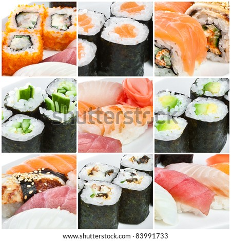 Japanese Cuisine - Sushi Roll. Traditional Japanese cuisine - stock photo