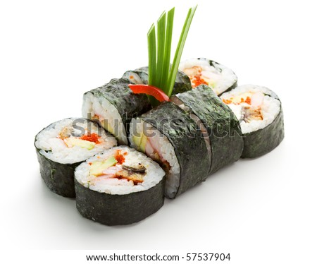 Japanese Cuisine - Sushi Roll with Shrimps and Conger, Avocado, Tobiko and Cheese - stock photo