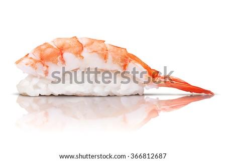 japanese cuisine. sushi shrimp on white background - stock photo