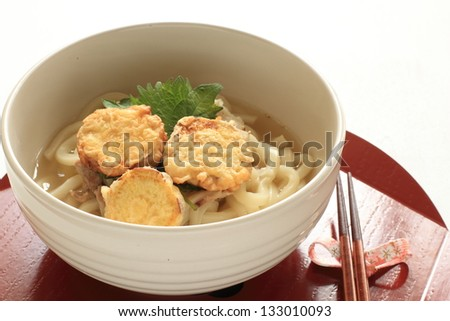 japanese cuisine, sweet potato tempura and udon for gourmet lunch image - stock photo