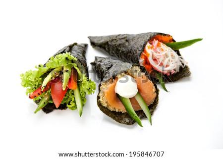 Japanese cuisine. Temaki sushi set on a white background - stock photo