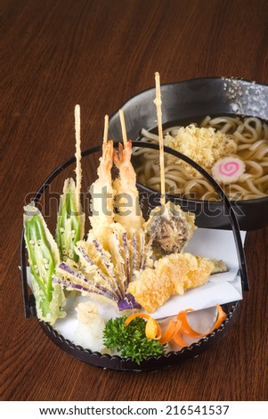 japanese cuisine. tempura with noodle on background - stock photo